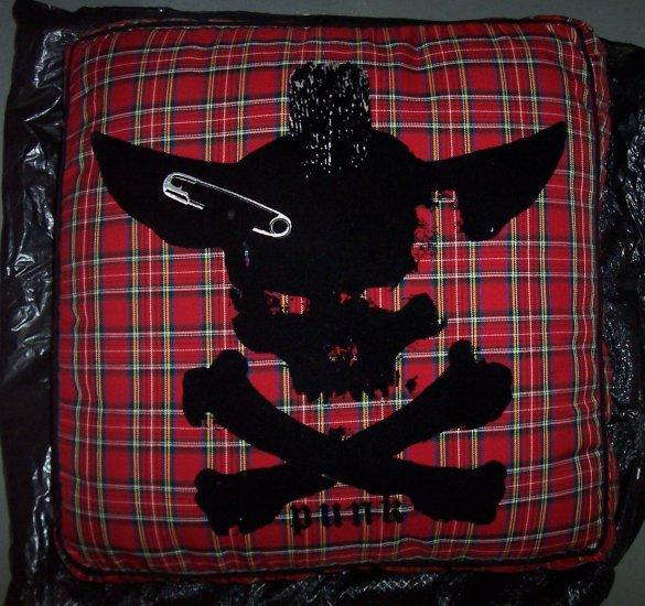 NEW Large Dog Pet Bed- Tartan Plaid Skull Bones Punk Fabric