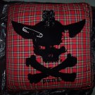 NEW Large Dog Pet Bed- Tartan Plaid Skull Bones Punk Fabric