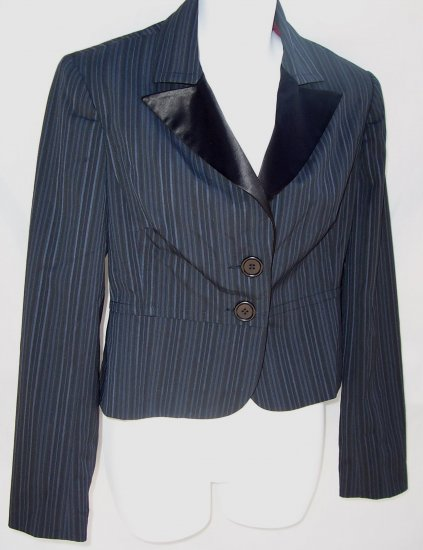 TRINA TURK Pin Stripe Tuxedo Satin Blazer Suit Jacket