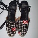 KATE SPADE Mod Art Deco Leather Wrap Espadrille Wedge Heel