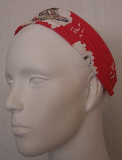 Rare MANOUSH Red Cat Dog Print Canvas Linen Headband