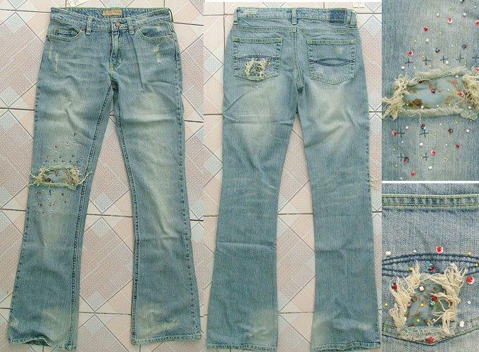 Ladies destroy denim jeans