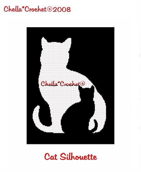 CHELLA*CROCHET Cat & Kitten Silhouette Afghan Crochet Pattern Graph Emailed to you