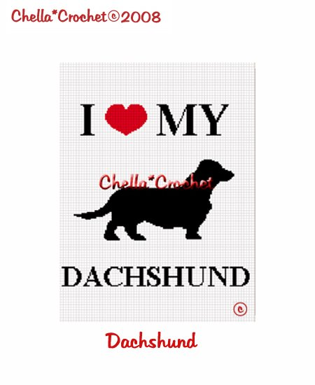 CHELLA*CROCHET I Love My Dachshund Afghan Crochet Pattern Graph Emailed to you