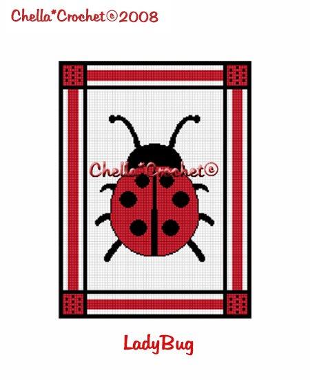 CHELLA*CROCHET Afghan Pattern Graph Crochet Lady Bug Ladybug EMAILED to you