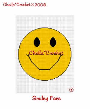CHELLA*CROCHET Afghan Pattern Graph Crochet Smilie face EMAILED to you