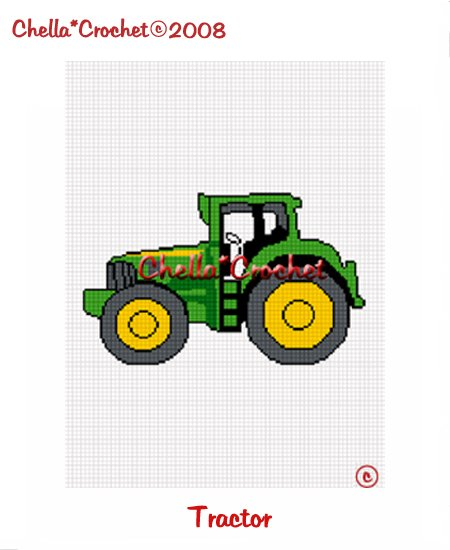 CHELLA*CROCHET Afghan Pattern Graph Crochet Green and Yellow Tractor EMAILED to you