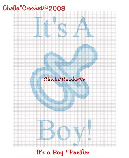 CHELLA CROCHET It's a Boy Pacifier Afghan Crochet Pattern Graph Emailed
