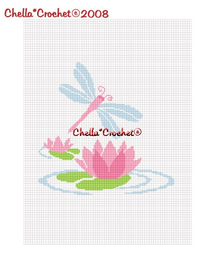 CHELLA*CROCHET  Dragon Fly Lily Pad Afghan Crochet Pattern Graph .PDF EMAILED