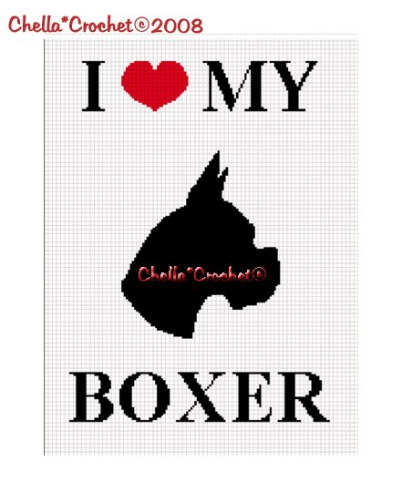CHELLA*CROCHET I Love My Boxer Silhouette Afghan Crochet Pattern Graph .PDF EMAILED