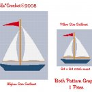 CHELLA*CROCHET Large Sailboat Afghan Pattern and Sailboat Pillow Pattern Graph Crochet .PDF EMAILED