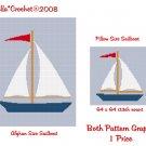 CHELLA*CROCHET Large Sailboat Afghan Pattern and Sailboat Pillow Pattern Graph Crochet .PDF EMAILED