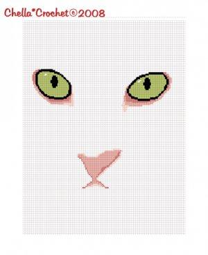 CHELLA*CROCHET Green Eyed Cat AFghan Crochet Pattern Graph .PDF EMAILED
