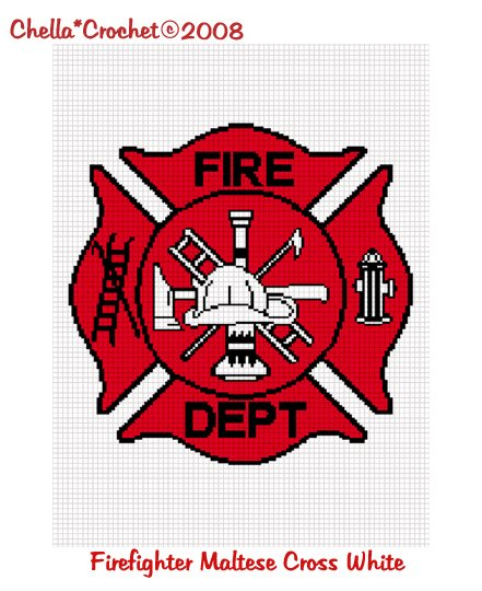 CHELLA CROCHET Firefighter Maltese Cross WHITE Accent Afghan Crochet Pattern Graph .PDF EMAILED