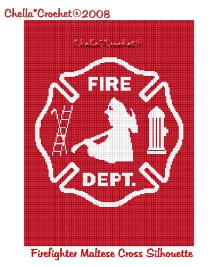 CHELLA CROCHET Firefighter Maltese Cross RED SILHOUETTE Afghan Crochet Pattern Graph .PDF EMAILED
