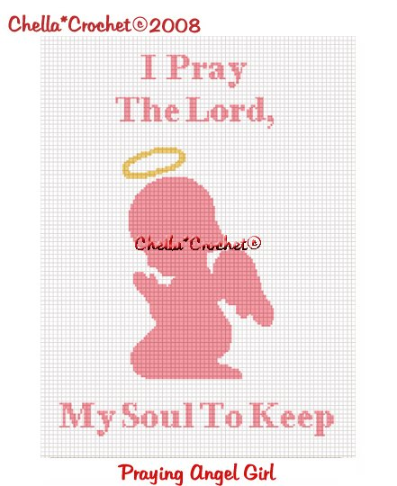 CHELLA*CROCHET Angel Baby GIRL I Pray the Lord My Soul To Keep Afghan Pattern Graph .PDF EMAILED