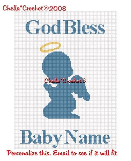 CHELLA*CROCHET God Bless PERSONALIZE Baby Name Praying Angel Afghan Crochet Pattern Graph .PDF