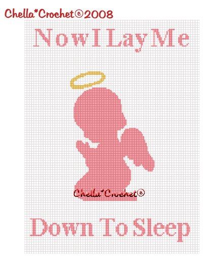 CHELLA*CROCHET Now I Lay Me Down To Sleep Angel GIRL Afghan Crochet Pattern Graph