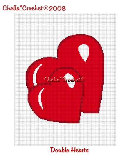 Chella*Crochet Double Heart Afghan Crochet Pattern Graph PDF EMAILED
