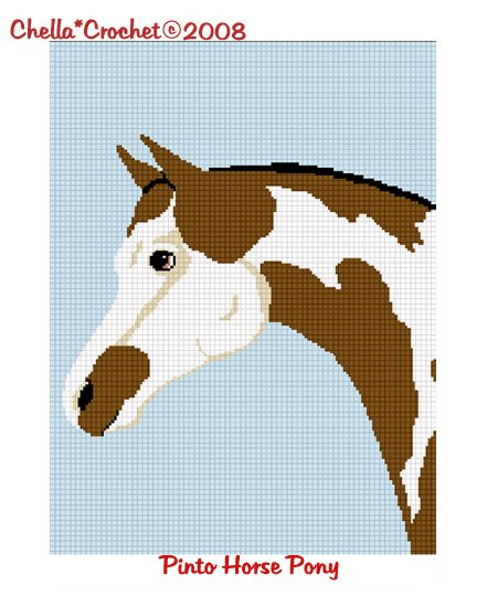 CHELLA*CROCHET Horse Pinto Pony Paint Afghan Crochet Pattern Graph Emailed .PDF