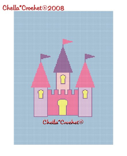 CHELLA*CROCHET Cinderella Castle Colorful Afghan Crochet Pattern Graph .PDF EMAILED