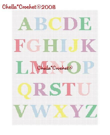 CHELLA*CROCHET Alphabet ABC's Pastel Afghan Crochet Pattern Graph EMAILED .PDF