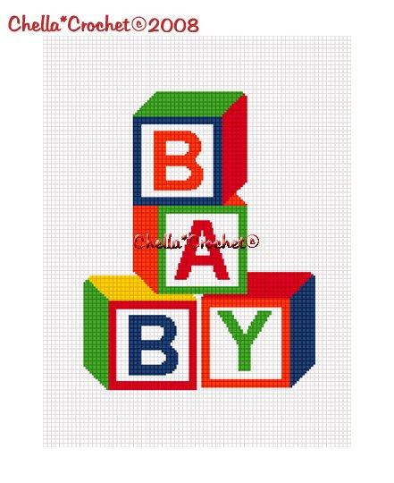 CHELLA*CROCHET BABY Blocks Afghan Crochet Pattern Graph EMAILED .PDF