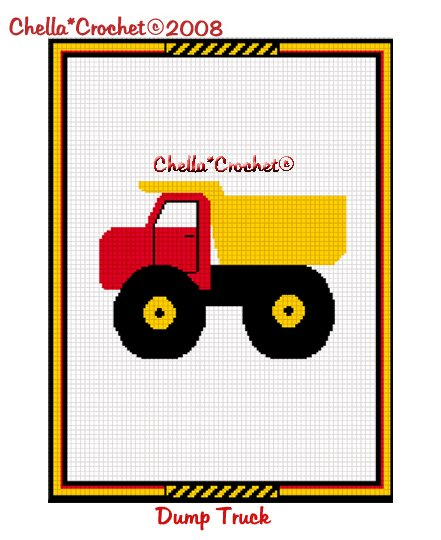 CHELLA*CROCHET Dump Truck Red Yellow Afghan Crochet Pattern Graph EMAILED .PDF