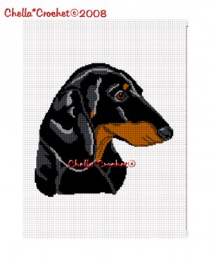 CHELLA*CROCHET DACHSHUND DOG AFGHAN CROCHET PATTERN GRAPH EMAILED .PDF