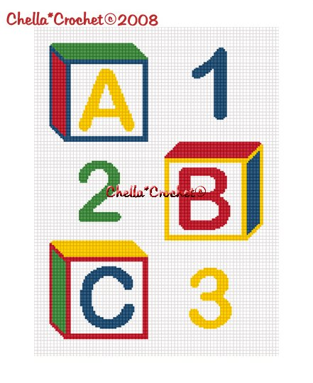 CHELLA*CROCHET ABC 123 Baby Blocks Boy or Girl Colorful Afghan Crochet Pattern Graph emailed .PDF