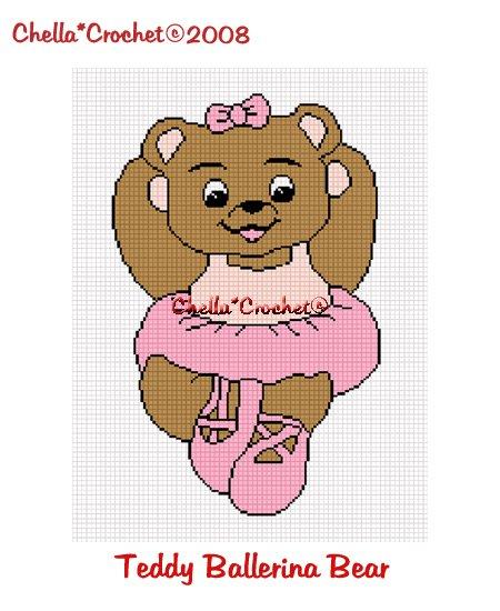 CHELLA*CROCHET Ballerina Teddy Bear Afghan Crochet Pattern Graph EMAILED .PDF