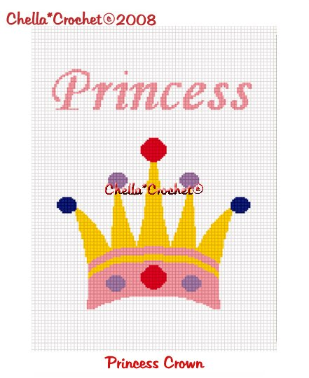 CHELLA*CROCHET Princess Crown Afghan Crochet Pattern Graph EMAILED .PDF