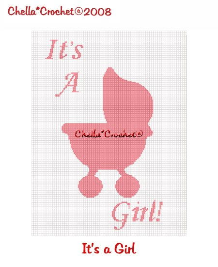 CHELLA*CROCHET It's a Girl Baby Stroller Silhouette Afghan Crochet Pattern graph EMAILED .PDF
