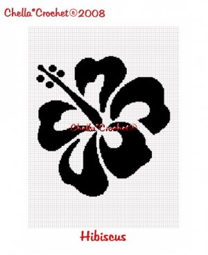 CHELLA*CROCHET Hibiscus FLOWER Silhouette Afghan Crochet Pattern Graph EMAILED .PDF