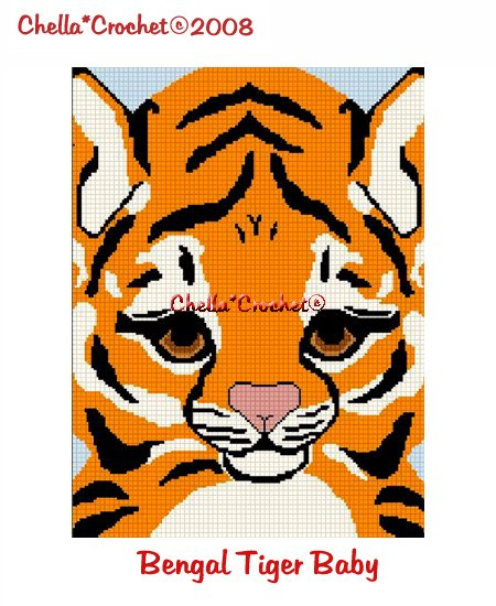 CHELLA*CROCHET White Tiger Cub Baby AFghan Crochet Pattern Graph EMAILED .PDF