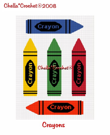 CHELLA*CROCHET Colorful Crayons Afghan Pattern Graph EMAILED .PDF