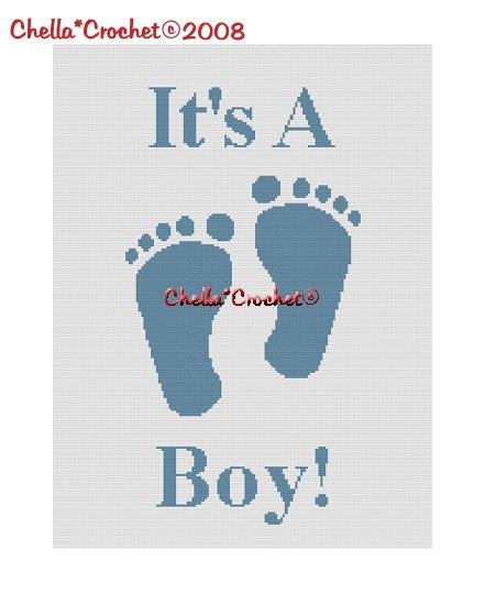 Chella*Crochet It's a Boy Footprints Baby Afghan Crochet Pattern Graph