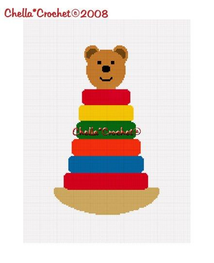 Chella*Crochet Stacking Rings Teddy Bear Afghan Crochet Pattern Graph