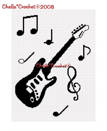 Chella*Crochet Guitar Musical Notes Music Afghan Crochet Pattern Graph