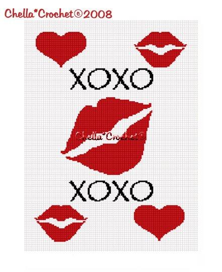 Chella*Crochet Kisses Hearts Hugs X's O's Afghan Crochet Pattern Graph