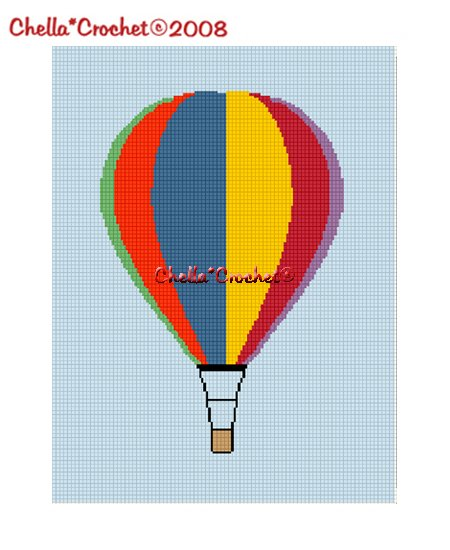 Chella*Crochet Hot Air Balloon Colorful Afghan Crochet Pattern Graph