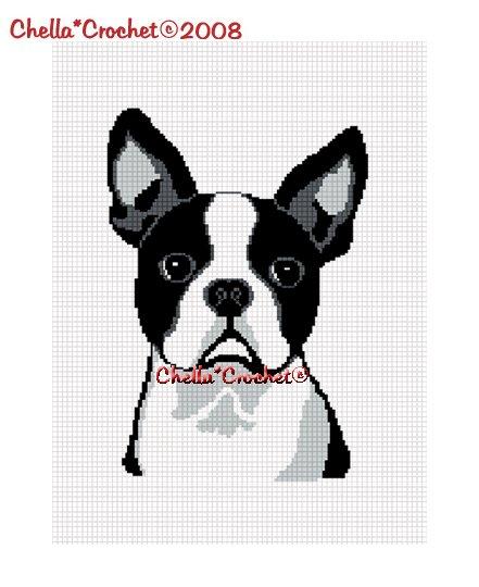 Chella*Crochet Boston Terrier Dog Afghan Crochet Pattern Graph