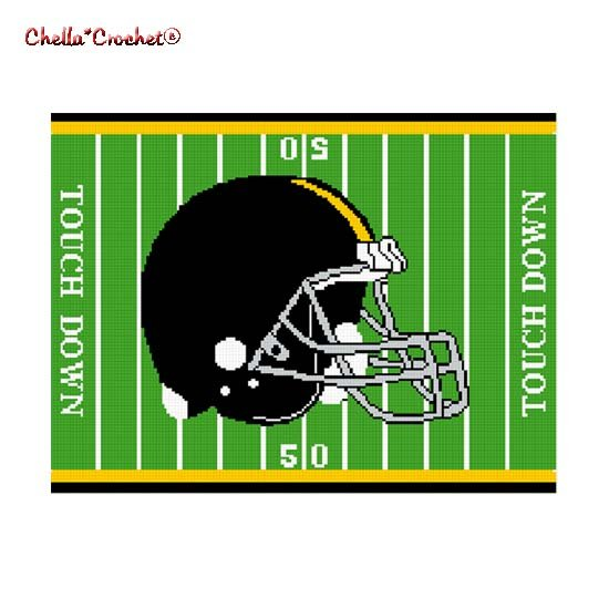 Chella*Crochet Football Helmet Field Black Gold Afghan Crochet Pattern Graph