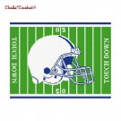 Chella*Crochet Football Helmet Field Blue White Afghan Crochet Pattern Graph