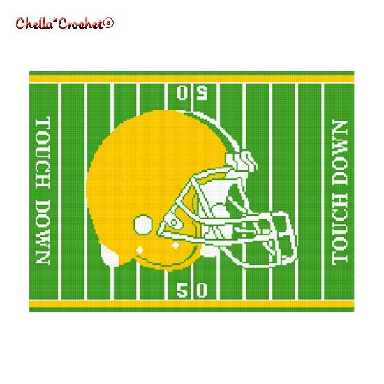 Chella*Crochet Football Helmet Field Green Yellow Gold Afghan Crochet Pattern Graph