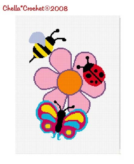 Chella*Crochet Lady bug Bumble Bee Butterfly Flower Afghan Crochet Pattern Graph