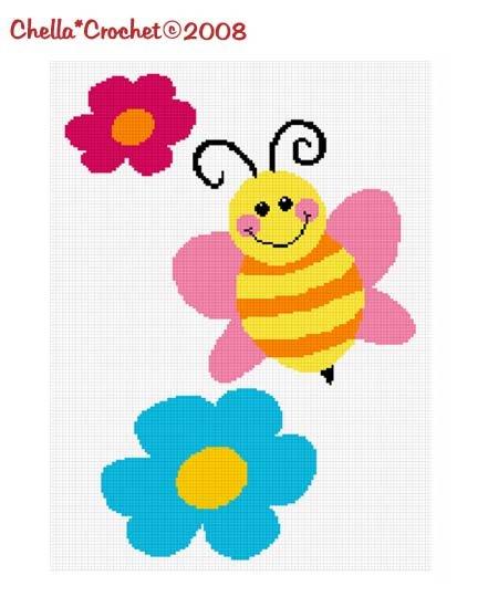 Chella*Crochet Bumble Bee Flowers Afghan Crochet Pattern Graph