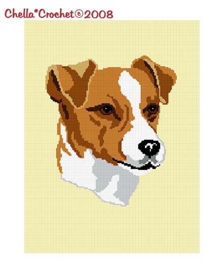 Chella*Crochet Jack Russell Terrier Dog Afghan Crochet Pattern Graph