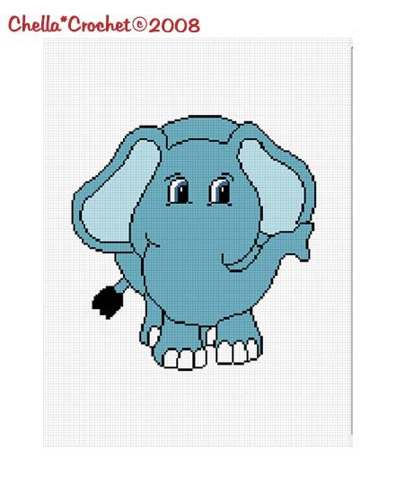Chella*Crochet Blue Baby Elephant Afghan Crochet Pattern Graph