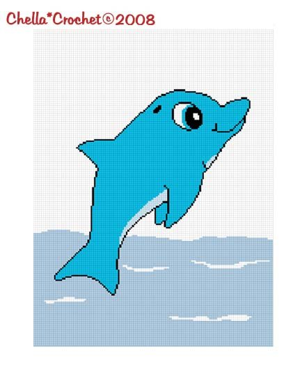 Chella*Crochet Blue Baby Dolphin Afghan Crochet Pattern Graph